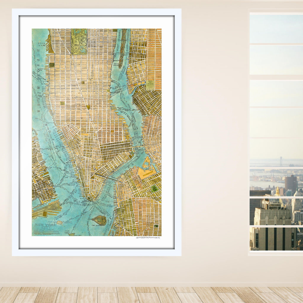 [manhattan map] [limited edition print]