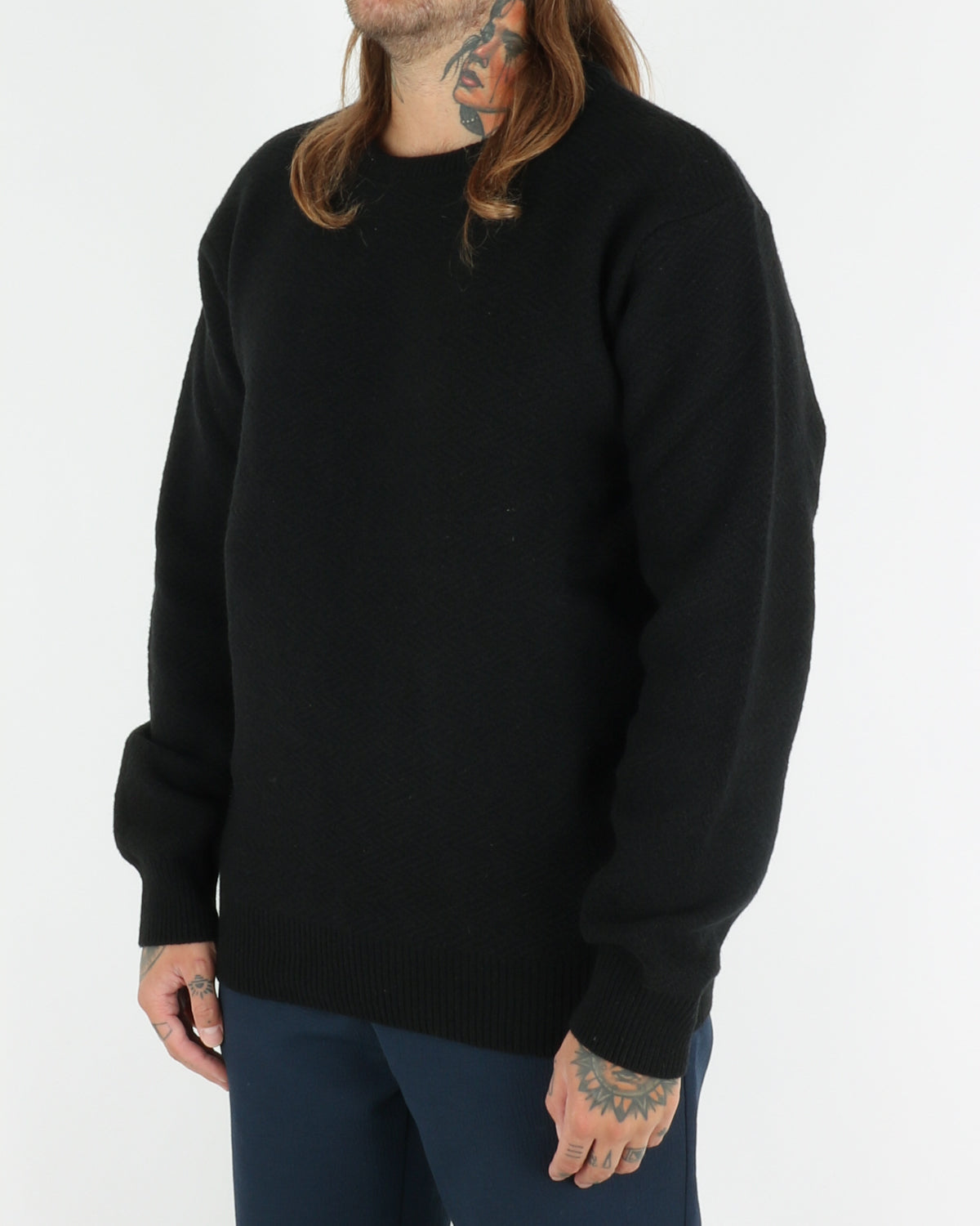 soulland_cassidy herringbone sweater_black_view_2_3