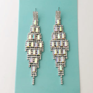 """ High Rise "" AB Iridescent Baguette Crystal Earrings On Silver Tone"