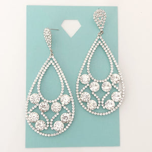 """ Spark "" Clear Crystal Rinestone Earrings On Silver Tone"