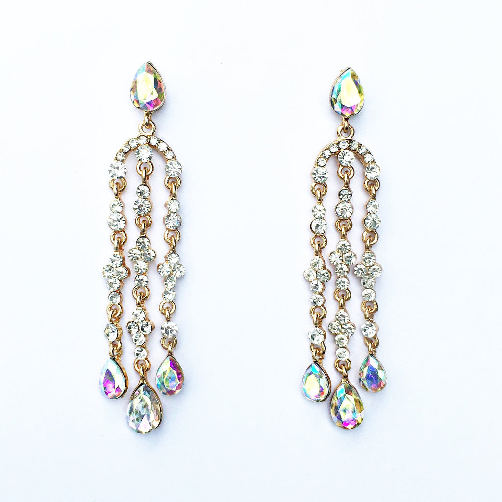 """ Crave "" Beautiful AB Iridescent Crystal Chandelier Earrings on Gold Tone"
