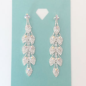 """ Shinning Bright "" AB Iridescent Rhinestone Earrings On Silver Tone"