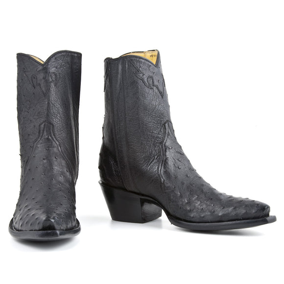 Ostrich Ankle Zipper - Black - Back at the Ranch