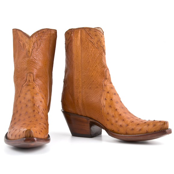 Ostrich Ankle Zipper - Cognac - Back at the Ranch