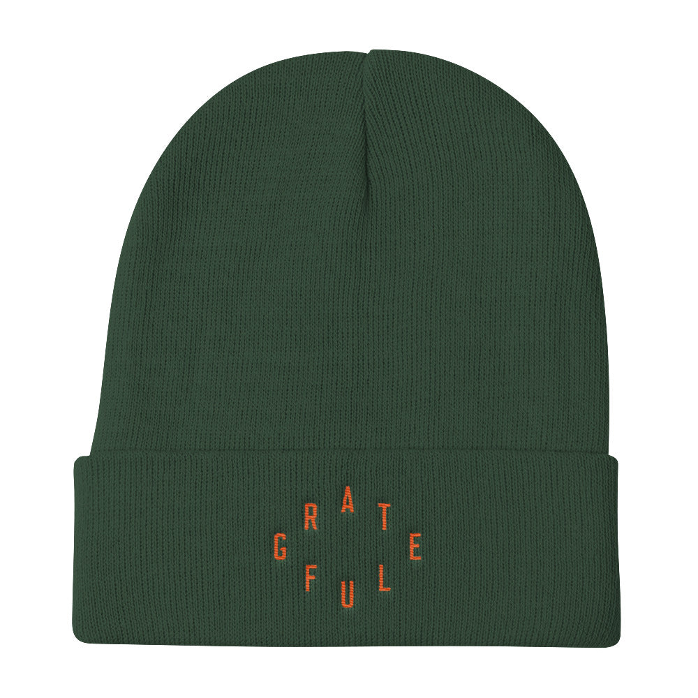 Grateful Christian Catholic Knit Beanie in Dark Green | PAL Campaign