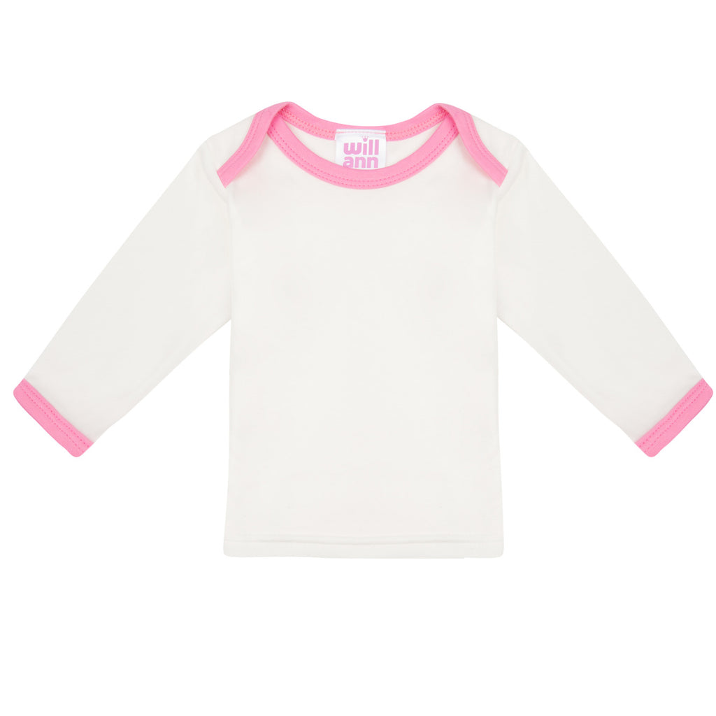 Long sleeve Tee in milk cotton, with pink binding and logo.