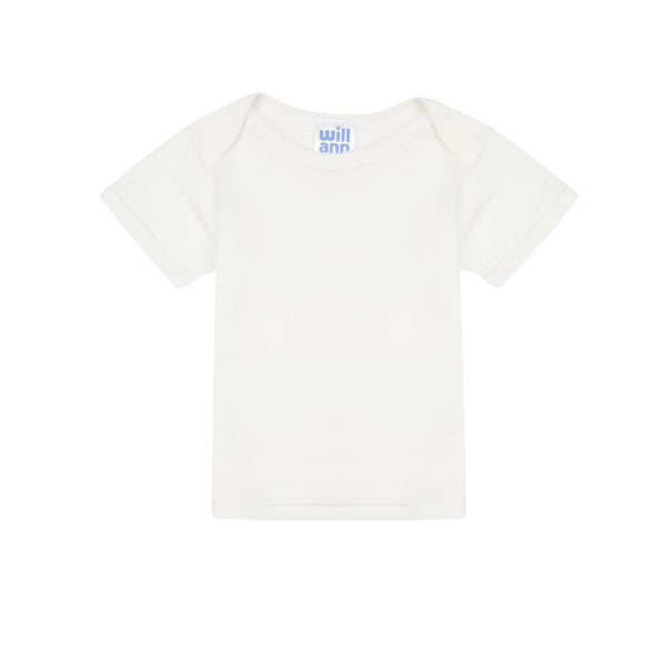 T-shirt in milk cotton, blue logo.