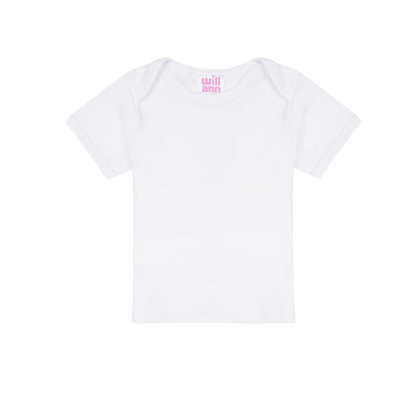 T-shirt in white cotton, pink logo.