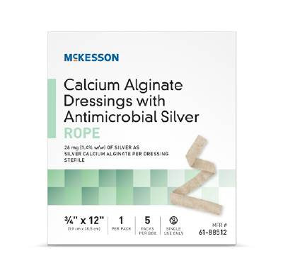 McKesson Calcium Alginate Dressing with Antimicrobial Silver Rope 3/4x12 inch Sterile box of 5 - CheapChux