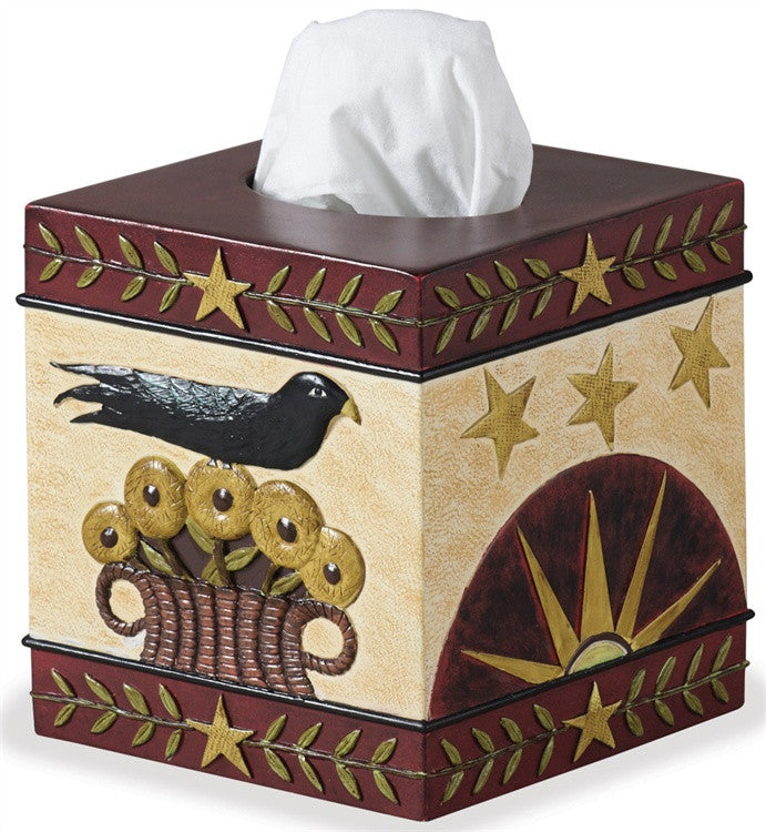 Folk Crow Tissue Box Cover