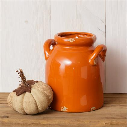 Pottery - Orange Crackle Crock, Small