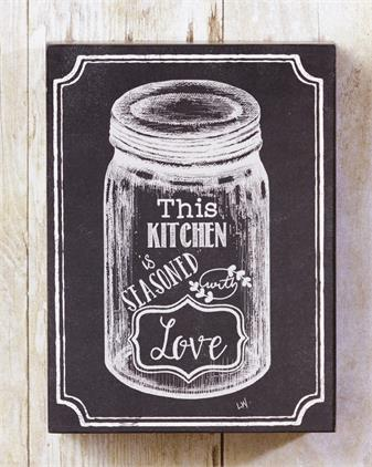 Box Sign, Hanger - Chalk, Kitchen Seasoned With Love