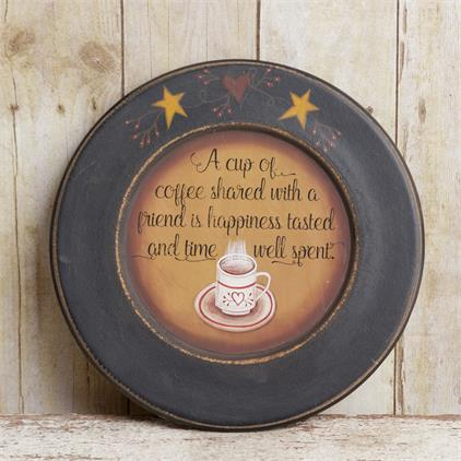 Wooden Plate - A Cup Of Coffee