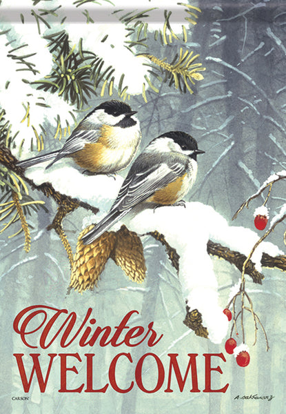 Chickadee Pair Winter Garden Flag