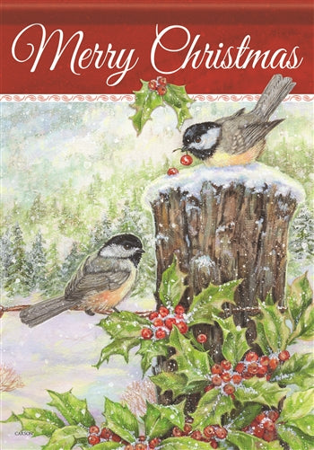 Christmas Chickadee Garden Flag