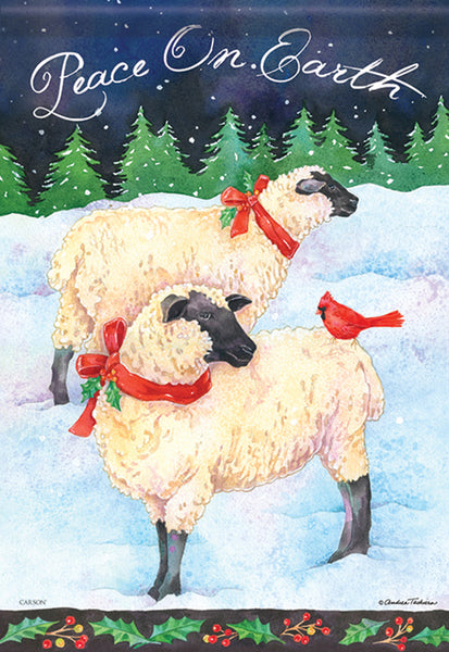 Holiday Sheep Garden Flag