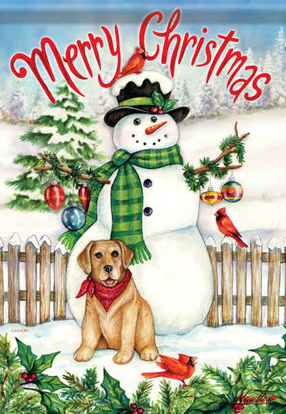 Snowman & Dog Christmas Garden Flag