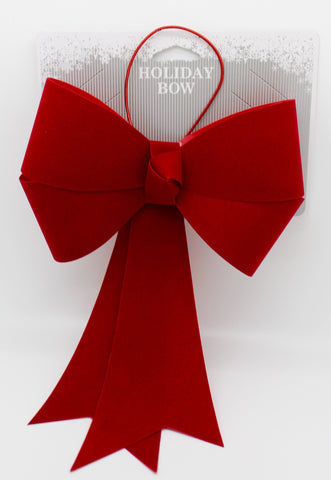 "8""x 13"" Red Flocked Bow"