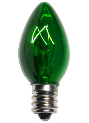 C7 Christmas Lights - Green - 25 Pack