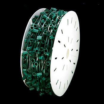 "500' C9 Christmas Light Spool - 12"" spacing - Green Wire - SPT-2"
