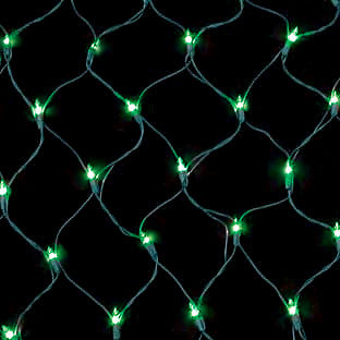 150 Count Net Lights - Green Bulbs - Green Wire - Case of 6 | All American Christmas Co