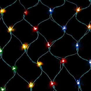 150 Count Net Lights - Multi Color Bulbs - Green Wire - Case of 6 | All American Christmas Co