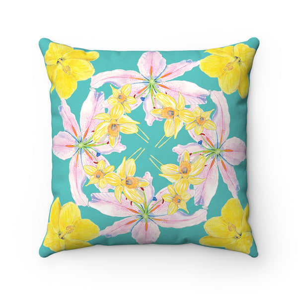 Pillow - Turquoise with Hibiscus, Pink Lily, Daffodil Print - Spun Polyester Square - Falling Leaf Card Co.