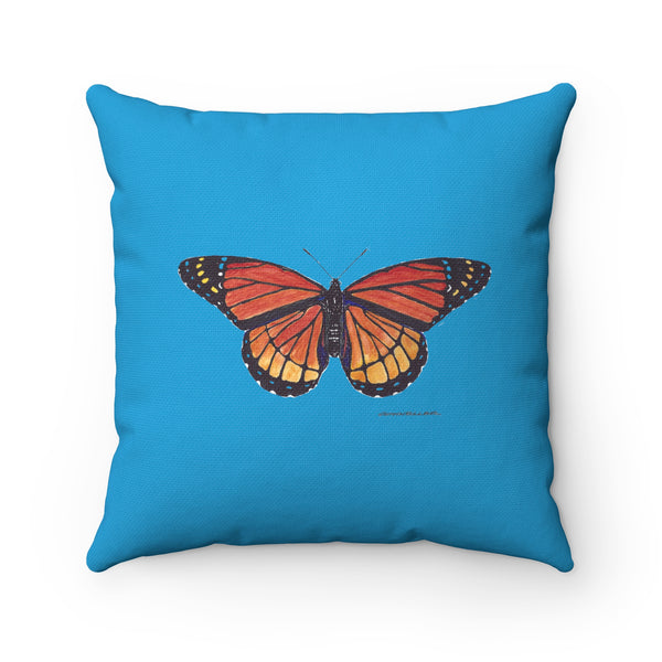 Pillow - Monarch Butterfly - Turquoise - Spun Polyester - Square - Falling Leaf Card Co.