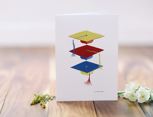 Graduation Three Caps Greeting Card - Falling Leaf Card Co.