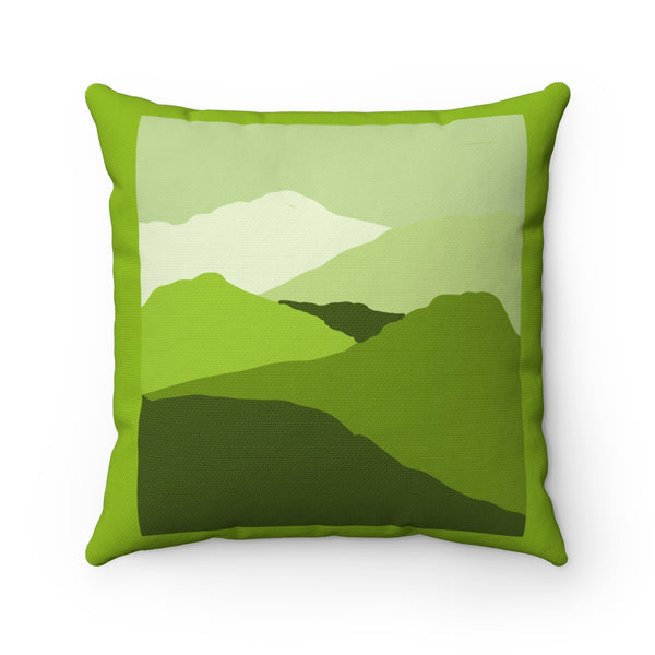 Pillow - Green Hills Spun Polyester Square - Falling Leaf Card Co.