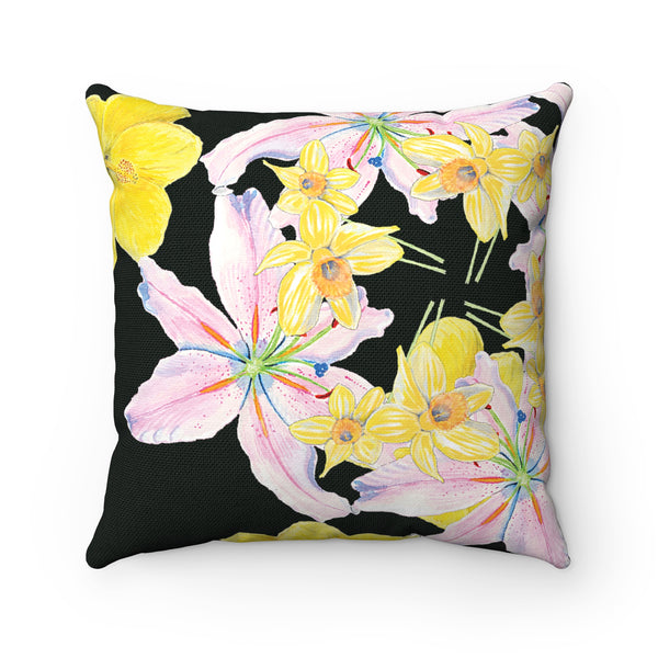 Pillow - Black with Yellow and Pink Flowers - Square - Spun Polyester - Falling Leaf Card Co.