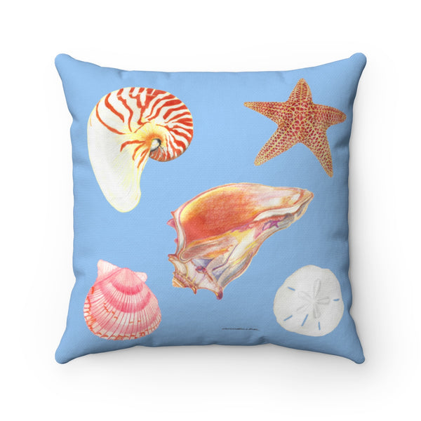 Pillow - Blue with Sea Shells - Square - Spun Polyester - Falling Leaf Card Co.