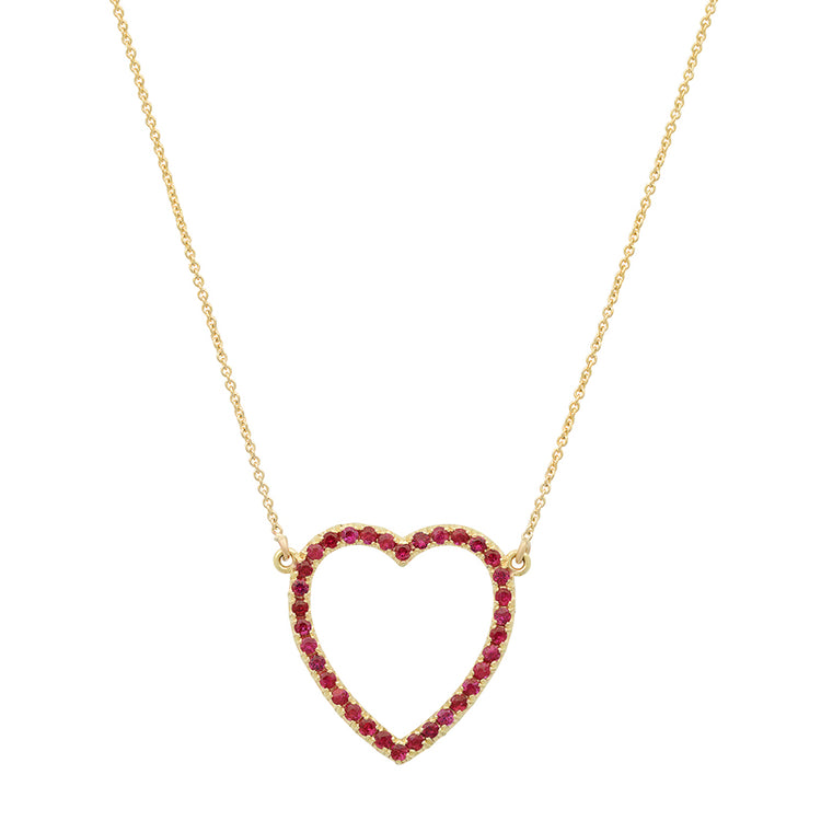 Large Ruby Open Heart Necklace