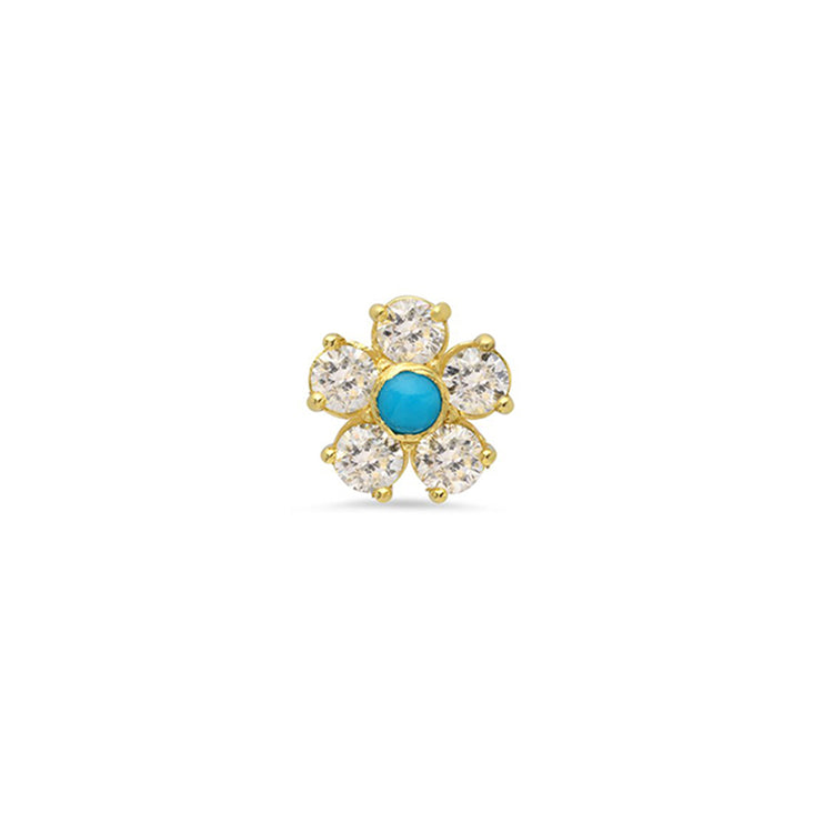 Half Pair Diamond Large Flower Studs with Turquoise Center