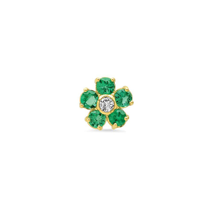 Half Pair Emerald Large Flower Studs with Diamond Center