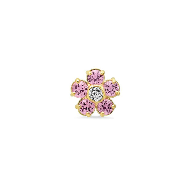 Half Pair Pink Sapphire Large Flower Studs with Diamond Center