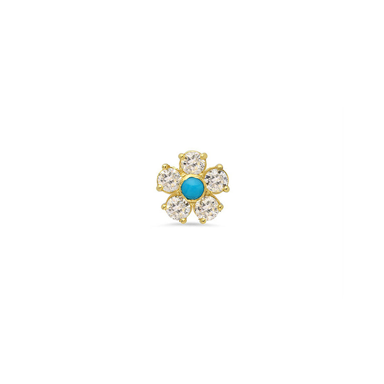 Half Pair Damond Flower Studs with Turquoise Center