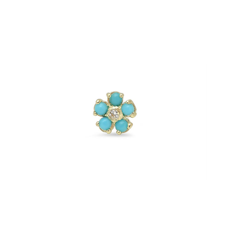 Half Pair Turquoise Flower Studs with Diamond Center