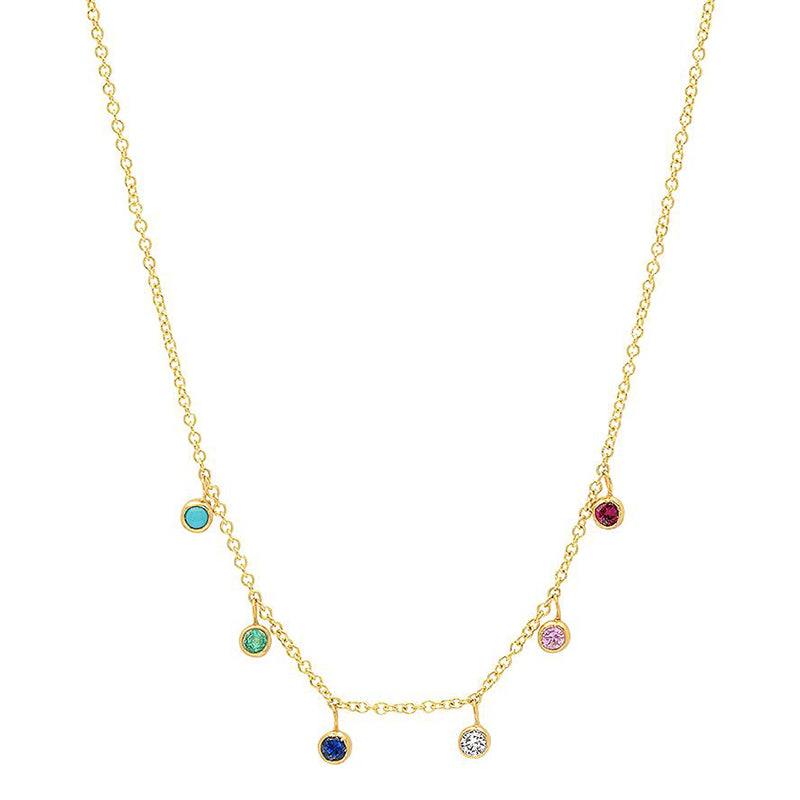 Multicolor Mini Bezel Dangle Necklace