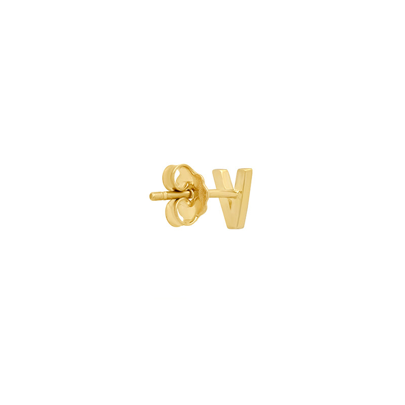Diamond Mini Uppercase Letter Stud - V