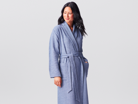 Coyuchi Cotton Unisex Mediterranean Robe, 3 Colors