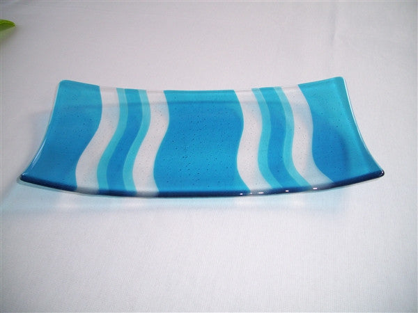 Flared Rectangular Plate - Heat Waves - Pure Double Turquoise
