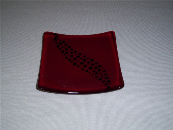 Flared Square Plate - 150 - Breeze - Red Ink