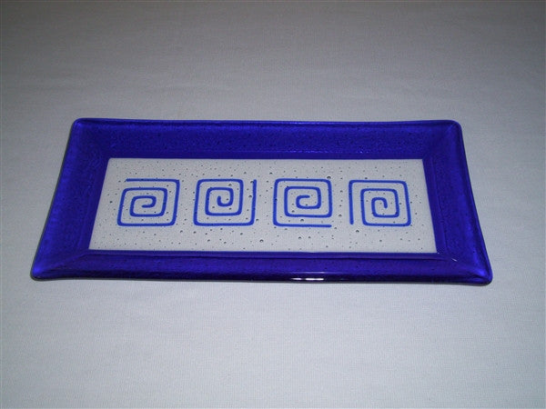 Rectangular Plate - Framed Pinwheels - Pure Deep Blue