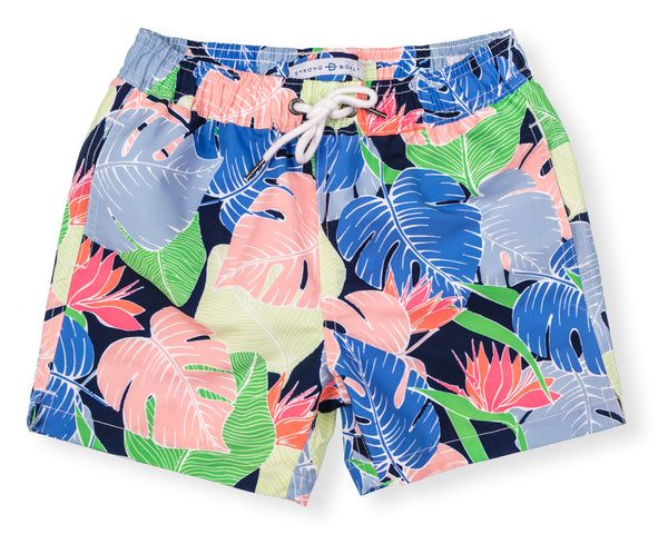 Boys Classic Swim Trunk Multi Leaf - Navy
