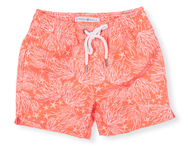 Boys Classic Swim Trunk Coral - Day Lily