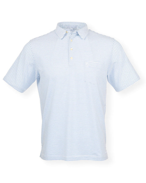 The Pencil Stripe Polo - White/Delphinium