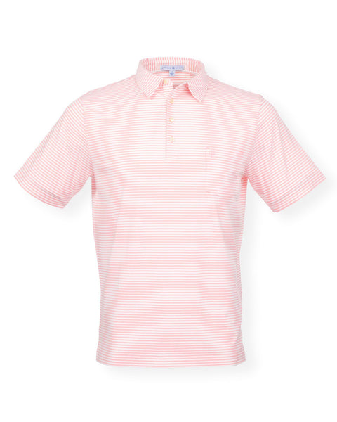 The Classic Stripe Polo - Splash Coral/White