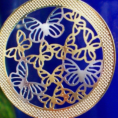 18ct Gold Plated Butterfly Drop Earrings (detail)