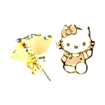 18ct Gold Plated 'Hello Kitty' Stud Earrings (detail)